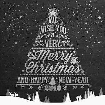 ヴィンテージメリークリスマスとハッピーニューイヤーカリグラフィーとタイポグラフィーの背景チョークで黒板にワードアート