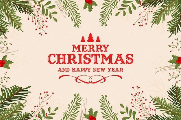 Винтажная рамка с рождеством христовым с эффектом акварели рождественских украшений
