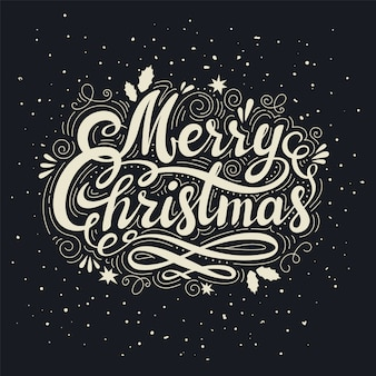 Vintage merry christmas inscription