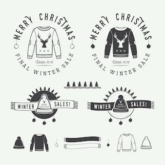 レトロなスタイルのヴィンテージメリークリスマスまたは冬の販売ロゴエンブレムバッジラベルと透かし
