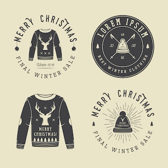 Vintage merry christmas or winter clothing shop logo, emblem, badge, label and watermark in retro style with sweaters, hats, scarfs, trees, stars, decor, deers and design elements.
