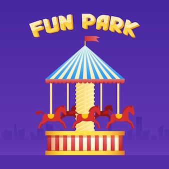 빈티지 회전 목마 회전 목마 아이콘, 공정한 기호입니다. 놀이 공원 테마입니다. 만화 벡터 일러스트 레이 션. 관광 명소의 집합입니다. 유원지. 좋은 감정.