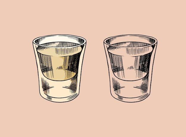 Винтажный мексиканский значок текилы. стеклянные рюмки с крепким напитком.