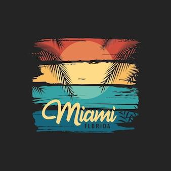 의류 및 티셔츠 디자인을 위한 빈티지 마이애미 플로리다 해변 그림