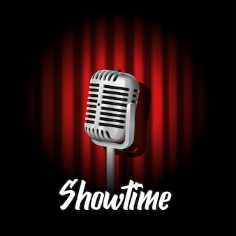 Vintage microphone on backdrop, showtime
