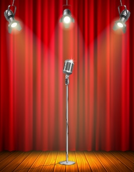 Vintage microphone on illuminated stage with red curtain three hanging spotlights wooden floor vector illustration