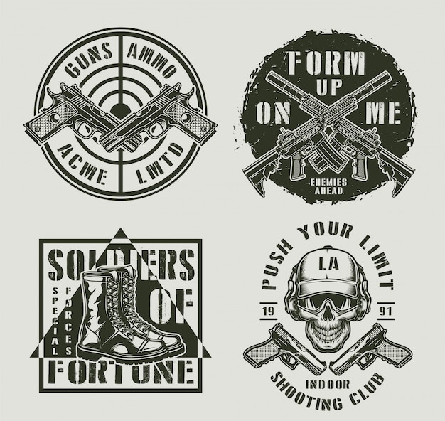 Vintage military monochrome badges