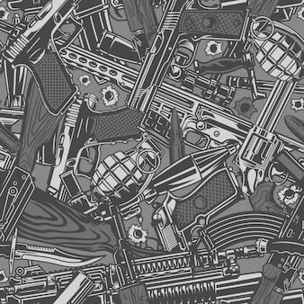 Vintage military weapons seamless pattern