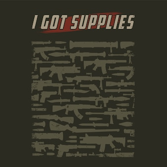 Vintage military weapons silhouettes
