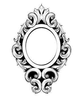 Vintage mirror frame baroque design elements