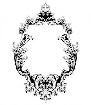 Vintage mirror frame baroque rich design elements