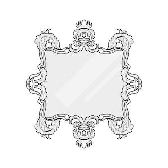 빈티지 거울 프레임입니다. 원형과 사각형 빈티지 프레임, 디자인 요소 벡터 컬렉션