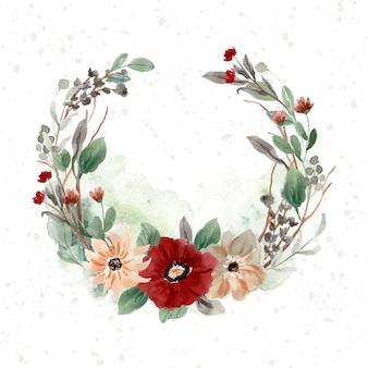Винтажный туманный цветочный венок акварель