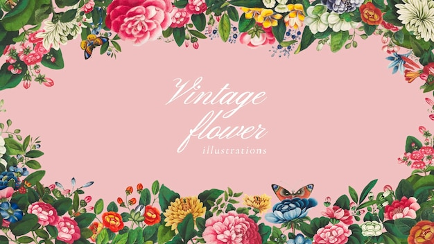 Vintage mixed chinese flower frame vector