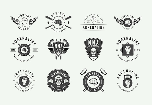 Vintage mixed martial arts or fighting club logos