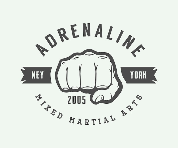 Vintage mixed martial arts logo, badge or emblem. vector illustration