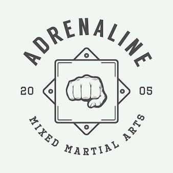 Винтаж смешанные боевые искусства логотип, значок или эмблема. векторная иллюстрация. графическое искусство.