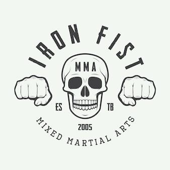 Винтаж смешанные боевые искусства логотип, значок или эмблемы. векторная иллюстрация