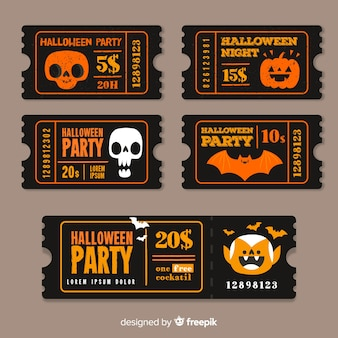 Vintage models of halloween tickets