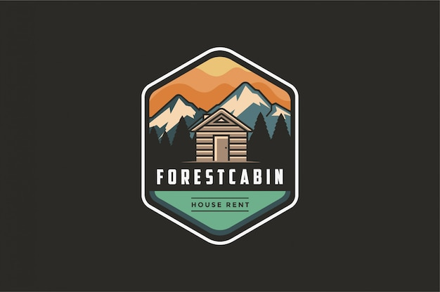 Vintage modern outdoor emblem logo with mountain view and cabin house in forest