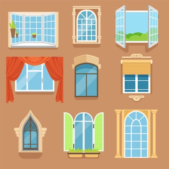 Vintage and modern windows set in different styles and forms.