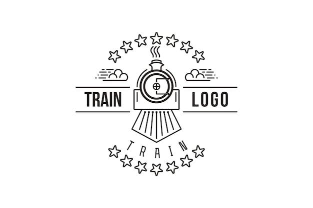 Vintage mono line train logo designs inspiration isolated on white background