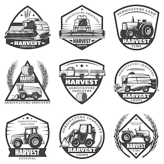Vintage monochrome agricultural machinery labels set with combines harvesting vehicles loader tractors truck for crop transportation isolated