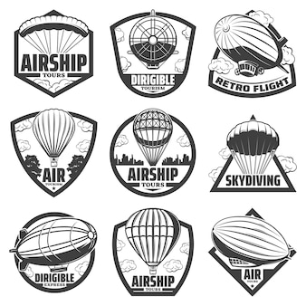 Vintage monochrome airship labels set with inscriptions hot air balloons blimps and dirigibles isolated