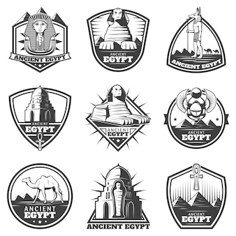 Vintage monochrome ancient egypt labels set