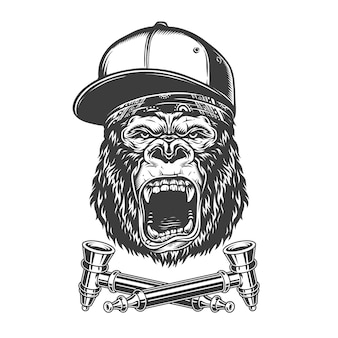 Винтажная монохромная злая голова гориллы