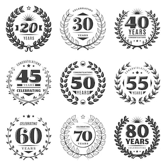 Vintage monochrome anniversary labels set
