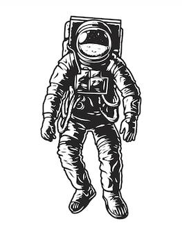 Concetto di astronauta monocromatico vintage