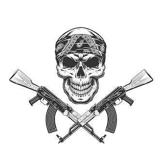 Cranio di bandito vintage monocromatico in bandana