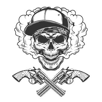 Винтажный монохромный череп бандита