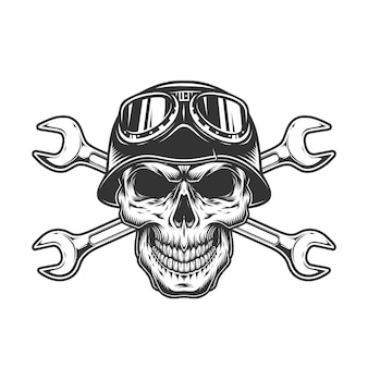 Concetto di teschio motociclista monocromatico vintage