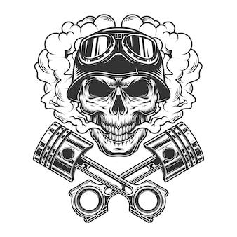 Vintage monochrome biker skull