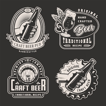 Vintage monochrome brewery labels