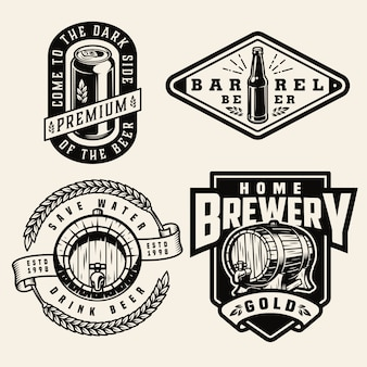 Vintage monochrome brewing labels