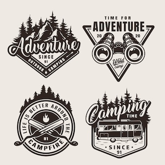 Vintage monochrome camping adventure emblems