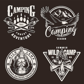 Vintage monochrome camping badges