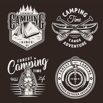 Etichette da campeggio monocromatiche vintage