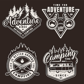 Vintage monochrome camping labels