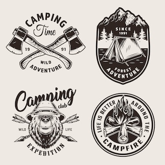 Старинные монохромные логотипы кемпинга
