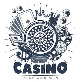 Винтажный монохромный шаблон логотипа казино