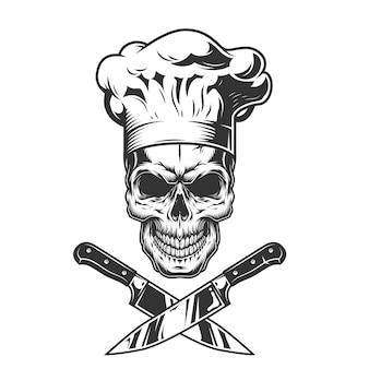 Винтажный монохромный череп шеф-повара