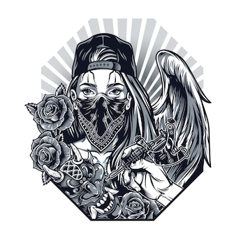 Vintage monochrome chicano tattoo concept with hand holding tattoo machine demon mask roses girl with angel wing in baseball cap and bandana on face isolated vector illustration