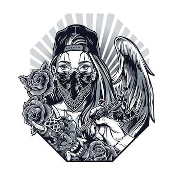 ヴィンテージモノクロチカーノタトゥーコンセプト手持ちのタトゥーマシン悪魔マスクバラの女の子野球帽とバンダナの天使の羽の顔の分離ベクトル図