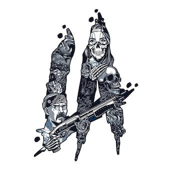 Винтажная монохромная концепция татуировки чикано с латиноамериканским гангстером, держащим девушку с дробовиком в страшной маске, скелетная рука, лежащая на черепе, кости, розы, огненное сердце в проводе, изолированных векторная иллюстрация