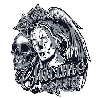 Винтажная монохромная татуировка в стиле чикано