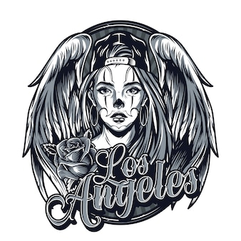 Vintage monochrome chicano tattoo template